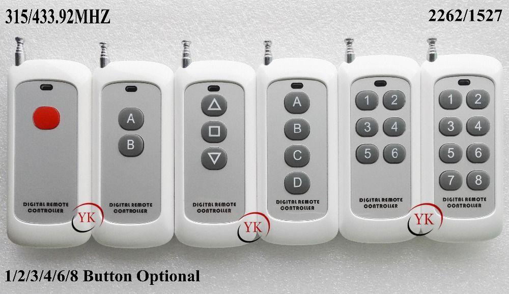 원격 제어 송신기 원격 스위치 1/2/3/4/6/8 버튼 작은 크기 장거리 큰 버튼 원격 키 패드 315/433 22621527