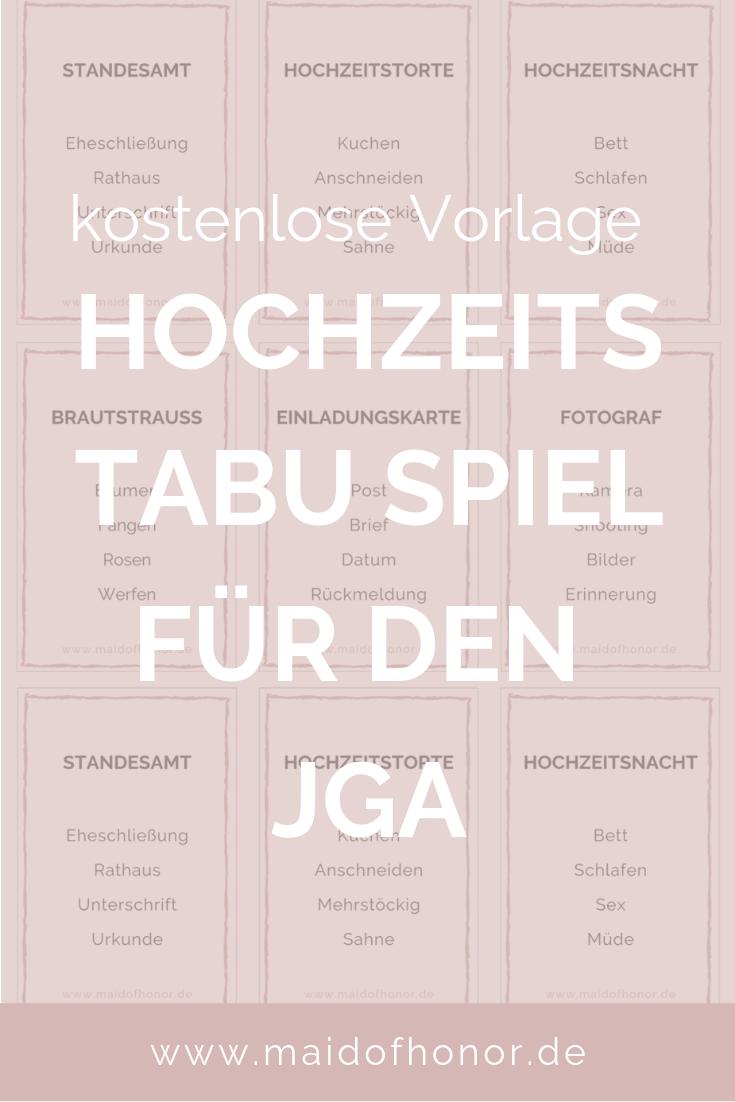 Jga Ideen Tabu Spiel Fur Den Jga Oder Die Brautparty Zum Ausdrucken Jga Spiele Tabu Spiel Brautparty