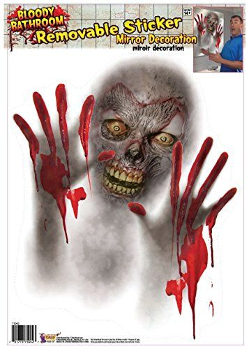Bloody Bathroom Mirror Zombie Sticker Cling Decal Scary Party Decor - zombie halloween decorations