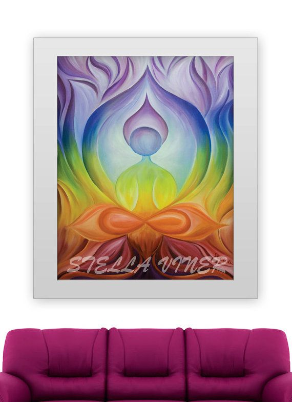 Yoga Series LOTUS Home Decor Studio 11x14 Fine Art Print From Original Oil Painting