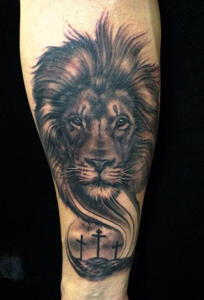 64c6ee8811d6c Lion and cross tattoo by TJ | Yelp | tattoos | Lion tattoo, Lion ...
