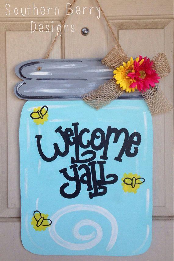 Items Similar To Welcome Ya Ll Mason Jar Door Hanger Sign On Etsy Mason Jar Door Hanger Mason