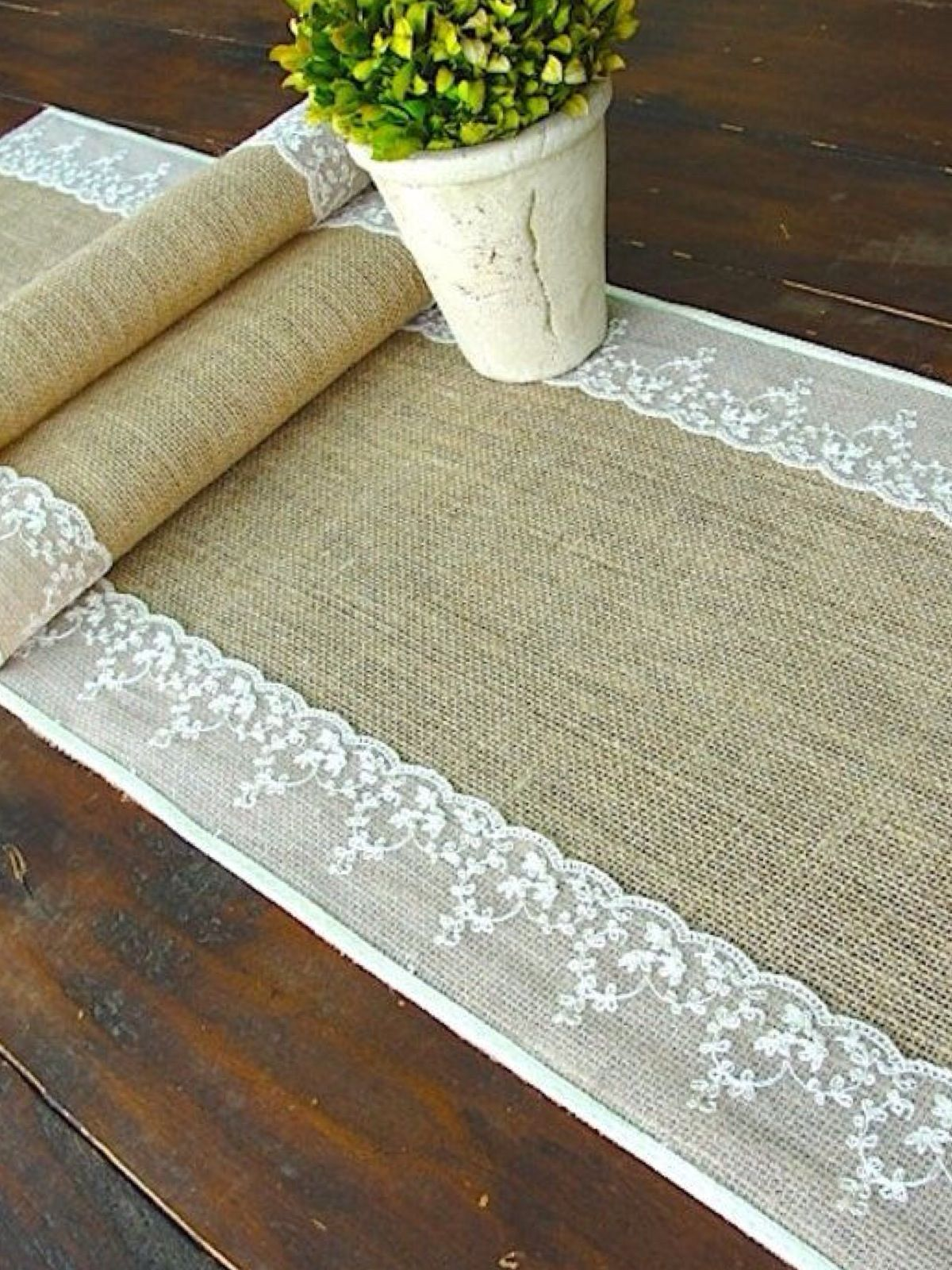Burlap Table Runner Wedding Table Runner With Ivory Italian Lace