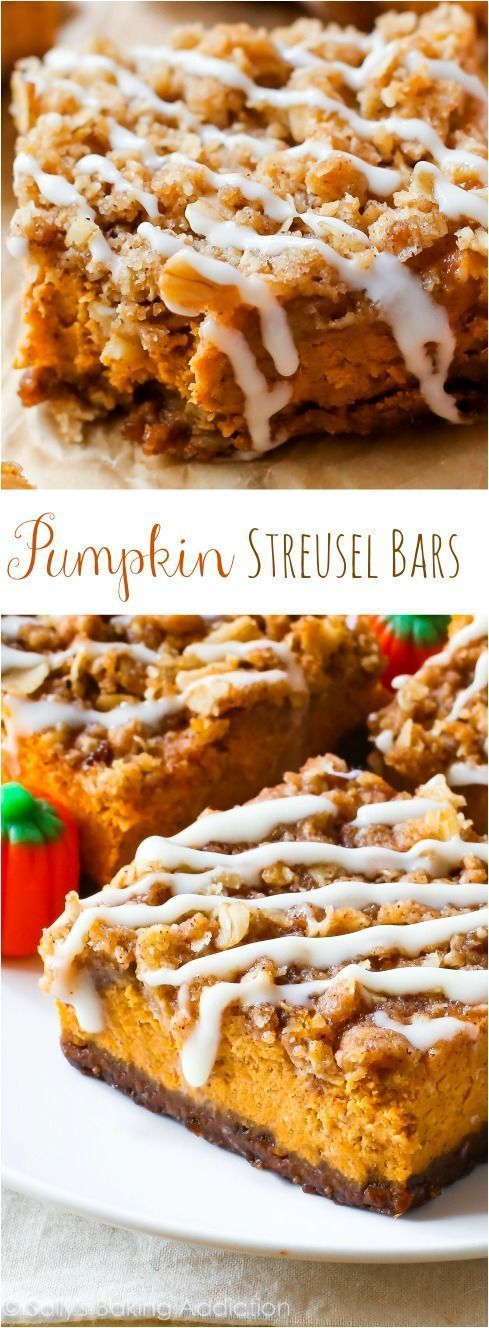 Pumpkin Pie Streusel Bars! With a gingersnap crust and brown sugar streusel… Pie Streusel Bars! With a gingersnap crust and brown sugar streusel…