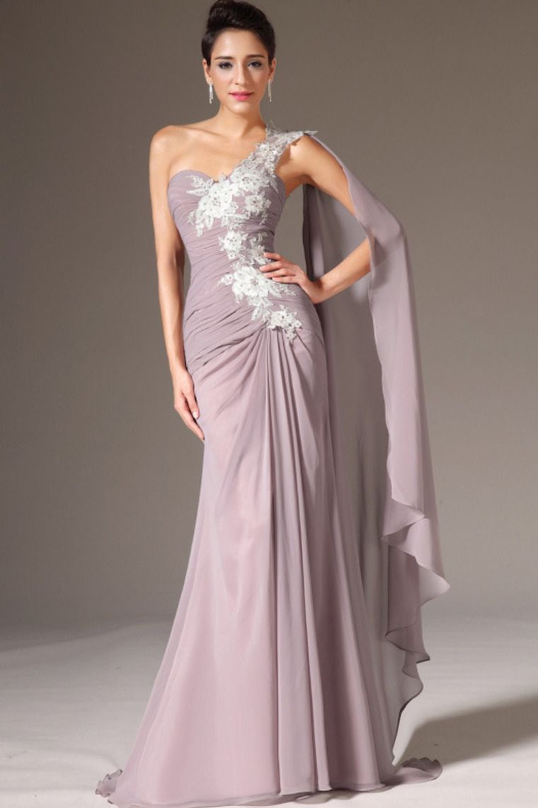 one shoulder pleated bodice prom dress with beaded applique