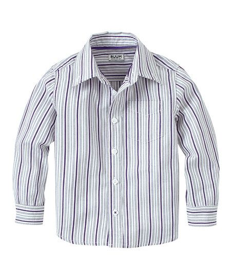 Crushed Grape Bright Stripe Button-Up - Infant & Toddler