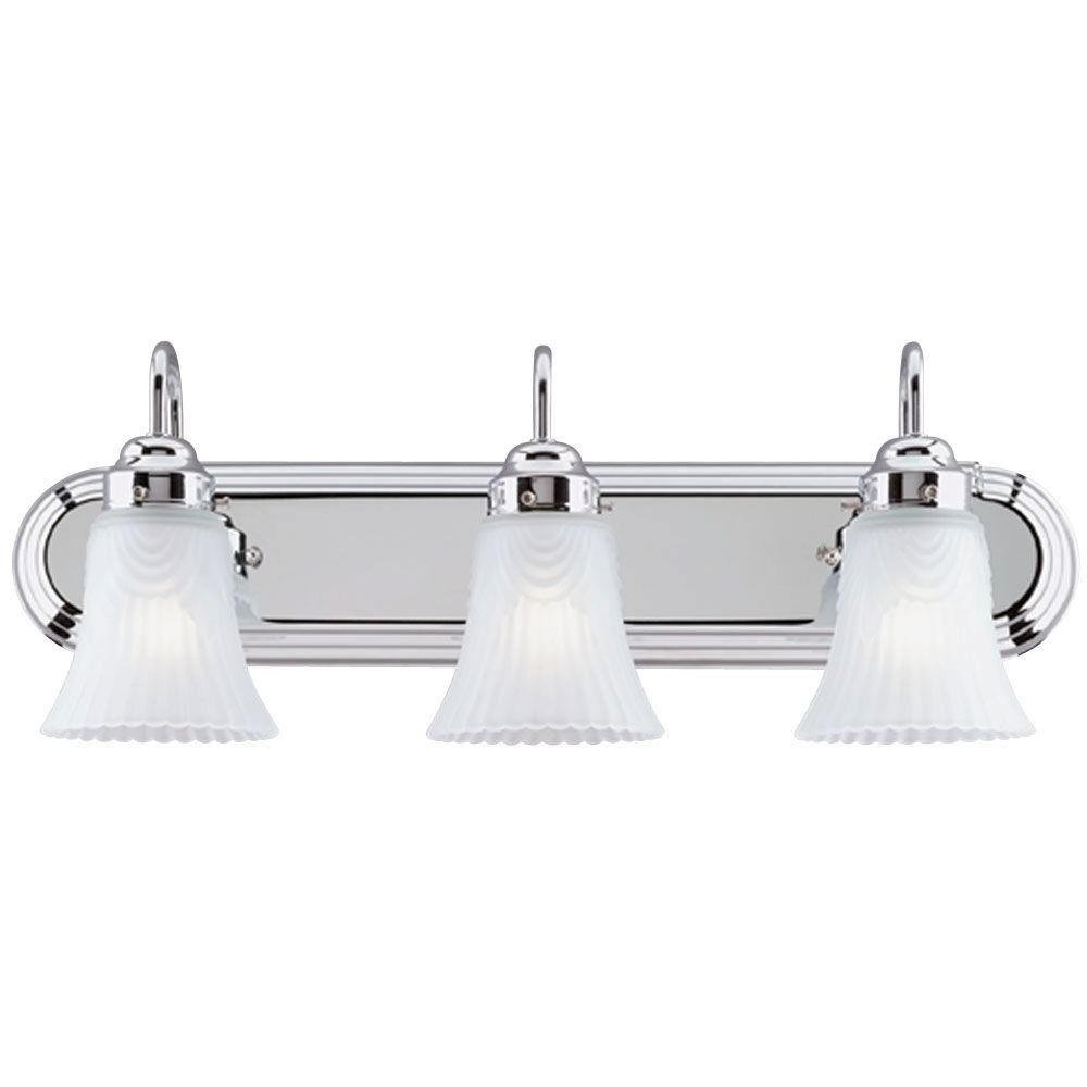 Westinghouse 3 Light Interior Chrome Wall Fixture With Frosted Pleated Glass