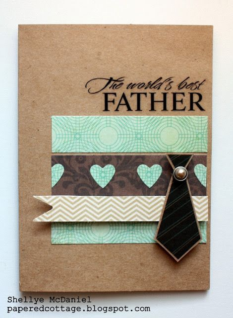 An easy to make Father's Day card with paper scraps and a tie sticker!: