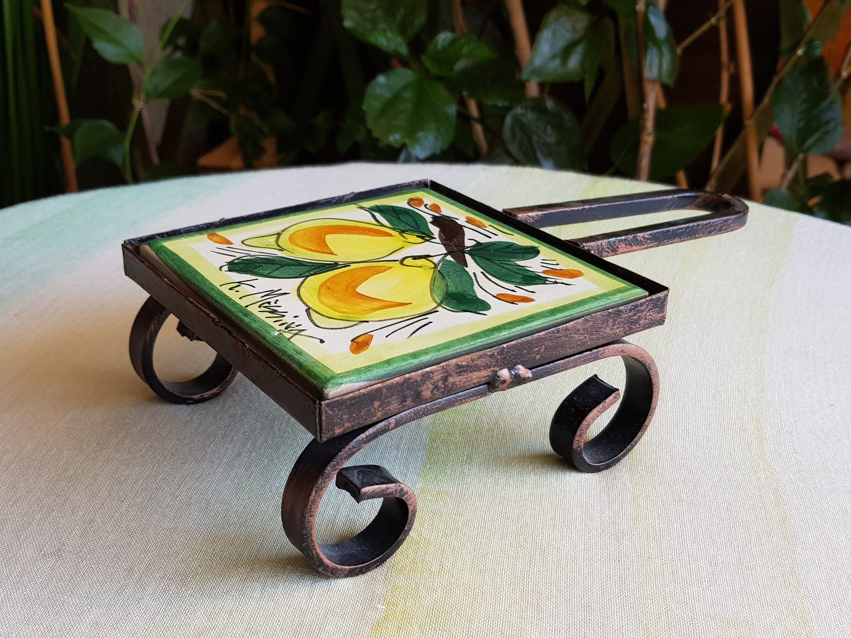 Sottopentola di ceramica siciliana decorato a mano con ...