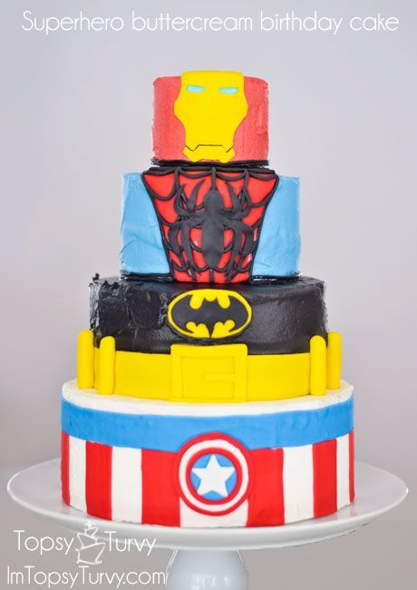 superhero cake fondant iron man spiderman batman captain America