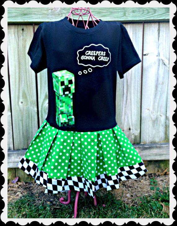 9d544b4f344 girls Minecraft dress creeper girls girls by BlossomBlueBoutique ...