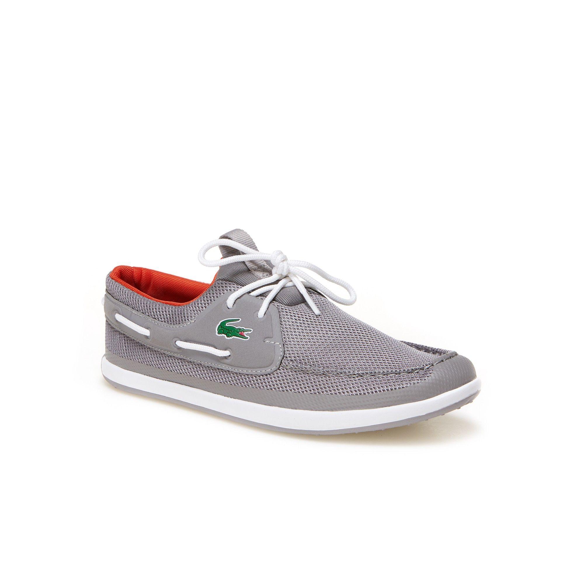 0c741685f48e LACOSTE Men s Landsailing Textile Boat Shoes - grey red.  lacoste  shoes