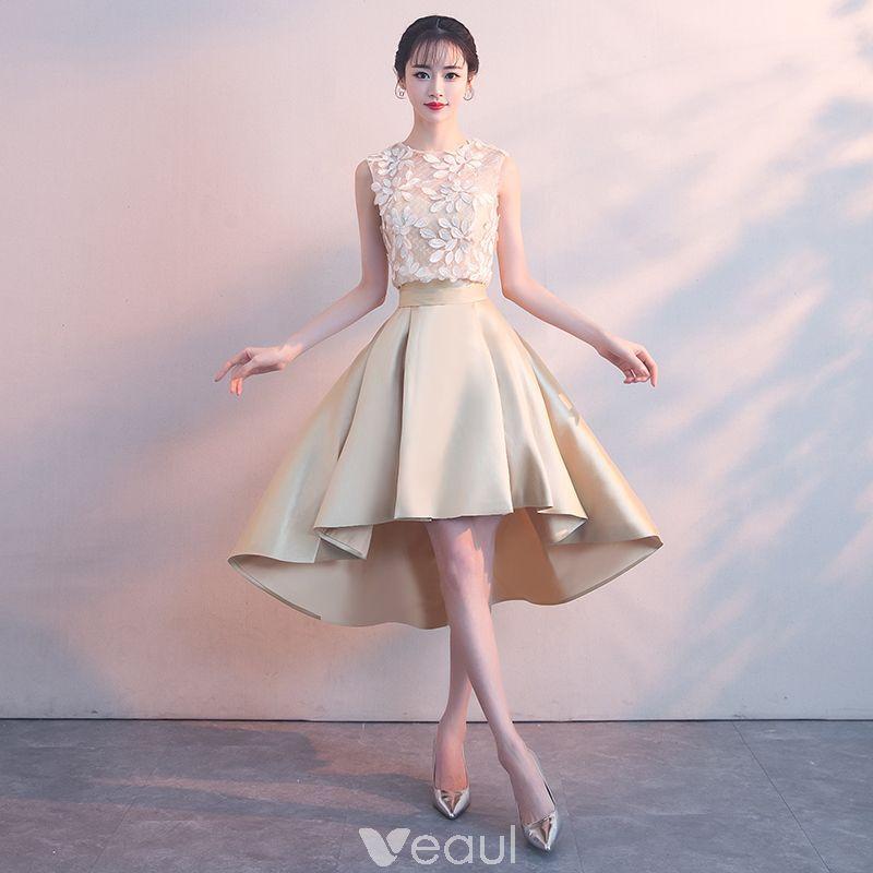 Vestido Alto 2 Piezas Champán Transparentes Vestidos de cóctel 2018 A-Line    Princess Scoop Escote Sin Mangas Apliques Con Encaje Asimétrico Ruffle  Vestidos ... 7c4da6da0b