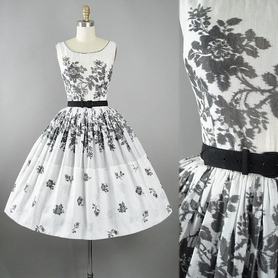 9b643fd2cad Vintage 50s Dress   1950s Cotton Sundress Black White Floral ROSE Print  L AIGLON Belted Full Swing Skirt Pinup Garden Picnic Party Small S