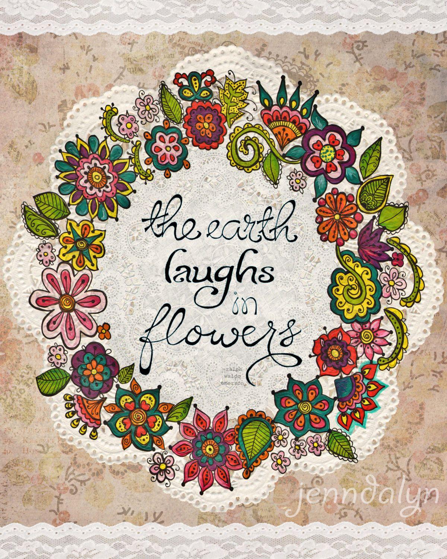 flower painting floral wall art garden theme inspirational ...