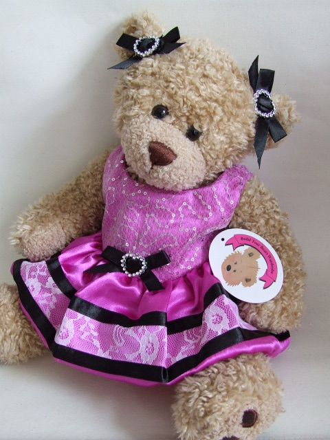 5143ea07b3c Teddy Bear Clothes Black Heart Dress with Bows