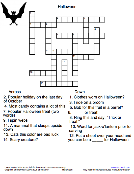 try your word skills with this halloween crossword puzzle