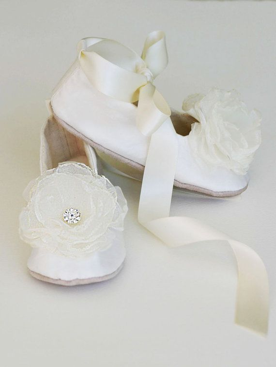 ivory silk toddler shoe little girls wedding shoe easter shoe flower girl shoe baby ballet slipper christening shoe baby souls couture