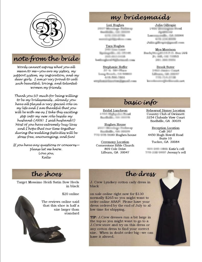 1 Pager To Give The Bridal Party All Of Immporant Info In One Place