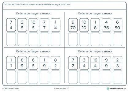 Fichas Para Imprimir Para Niños De Primaria Fracciones Ordenar Fracciones Actividades De Fracciones