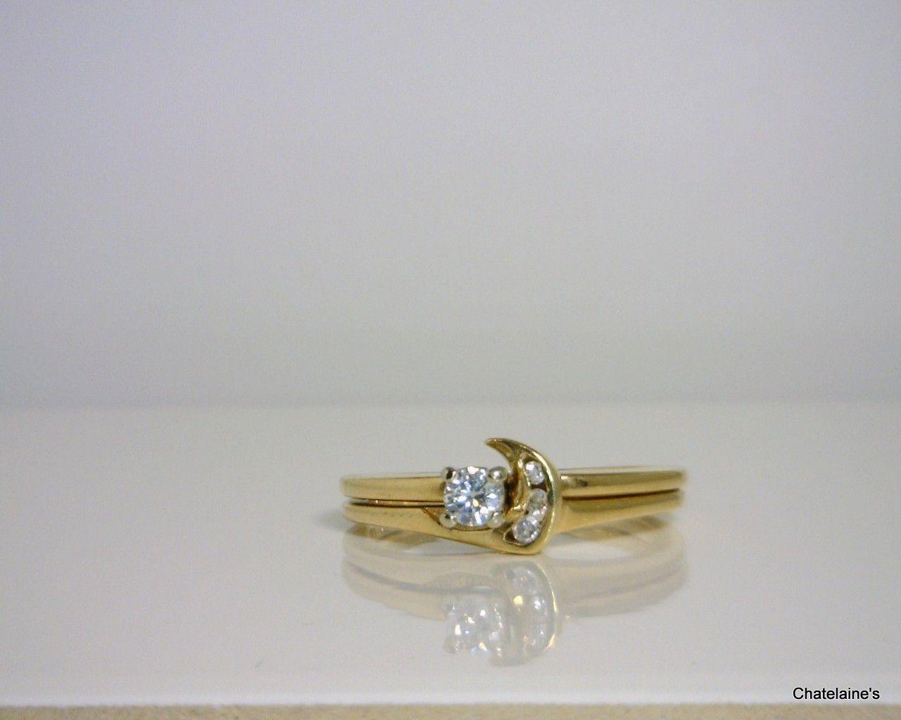 14k Diamond Crescent Moon Ring