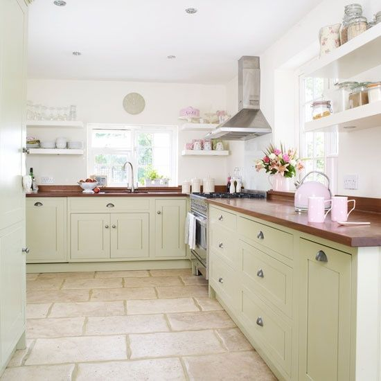Modern Country Kitchen Painted Cupboards Stone Floor Tiles