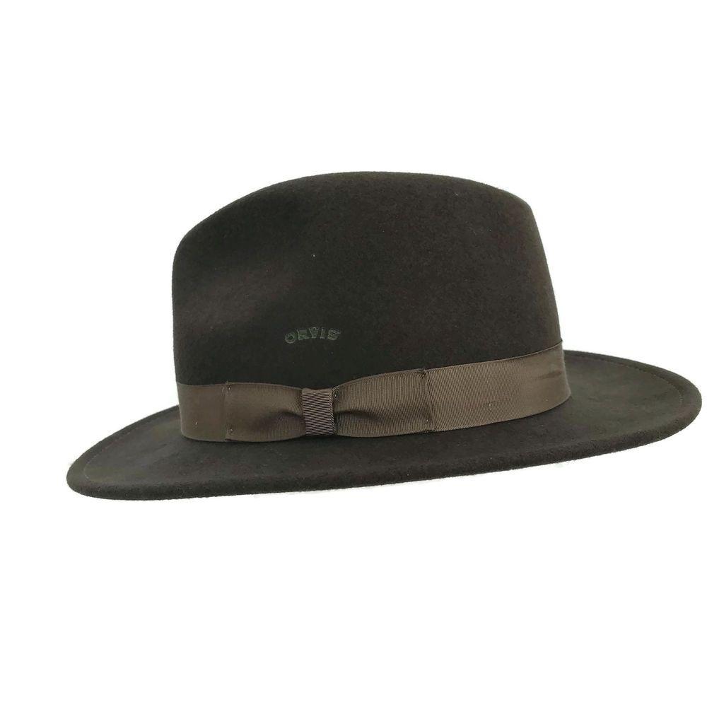 19964c8eeb45d Vintage Orvis 100% Wool Lite Felt Brown Fedora Packable Hat USA Men s Size  Large  Orvis  Fedora
