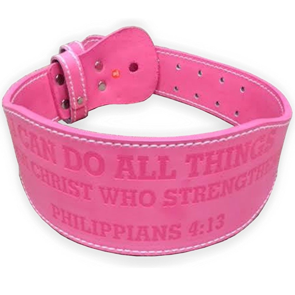Image of the belt tip's with a weight plate charm snap button engraved with the text of Philippians 4:13.