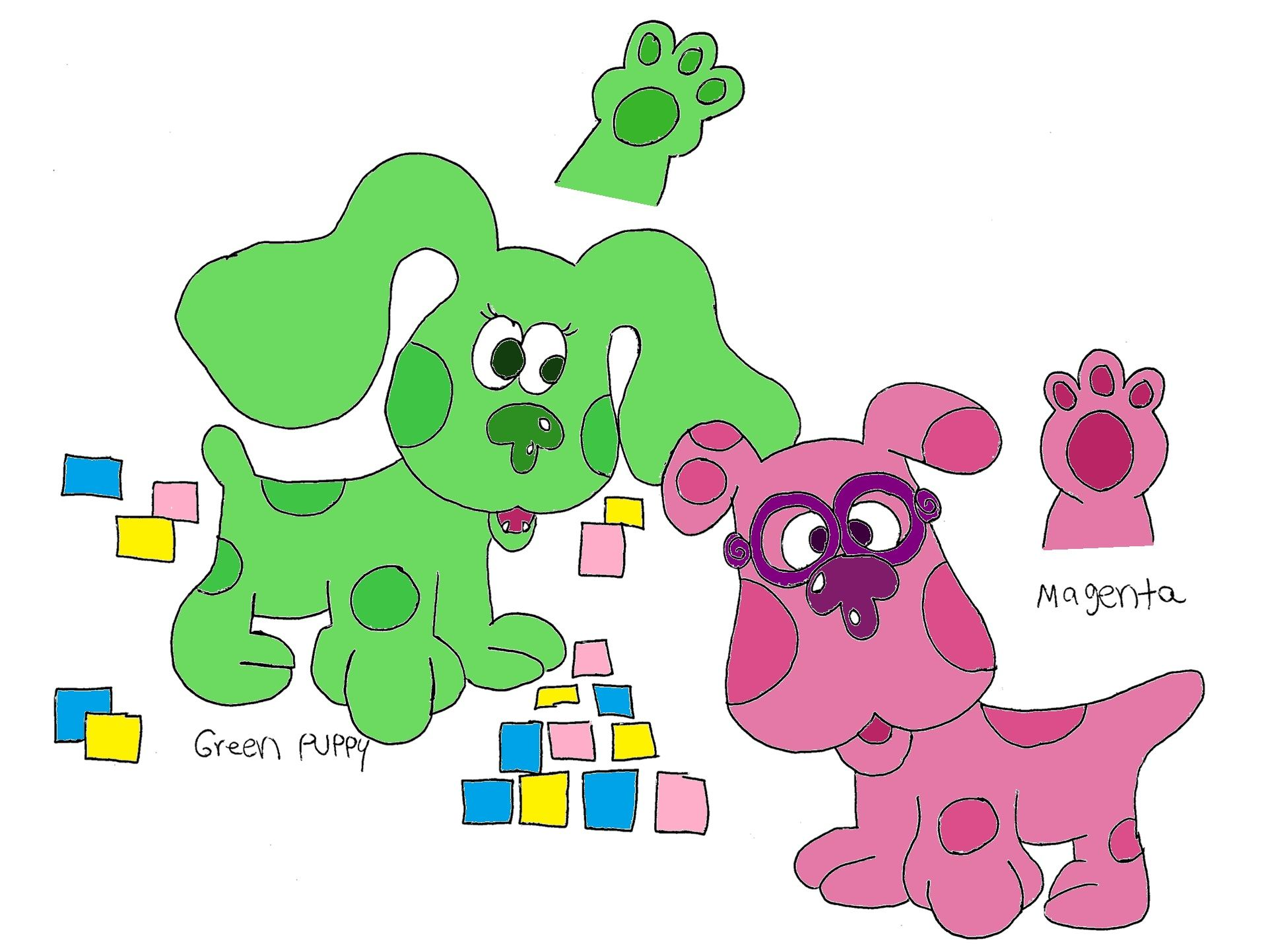 Blues Clues Male Magenta And Female Green Puppy My Genderbend