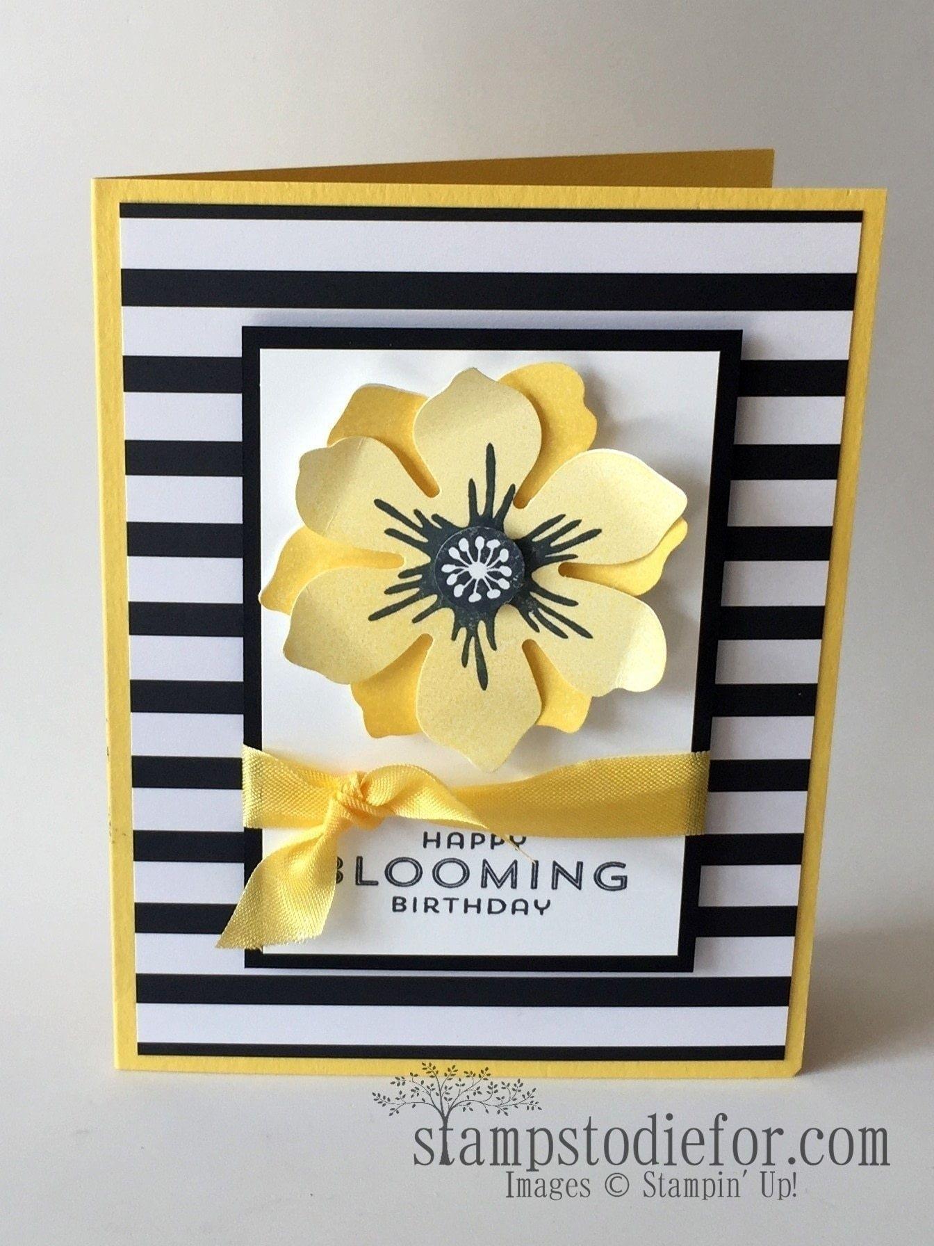 Black White And Yellow Birthday Card Tutorial Card Tutorials