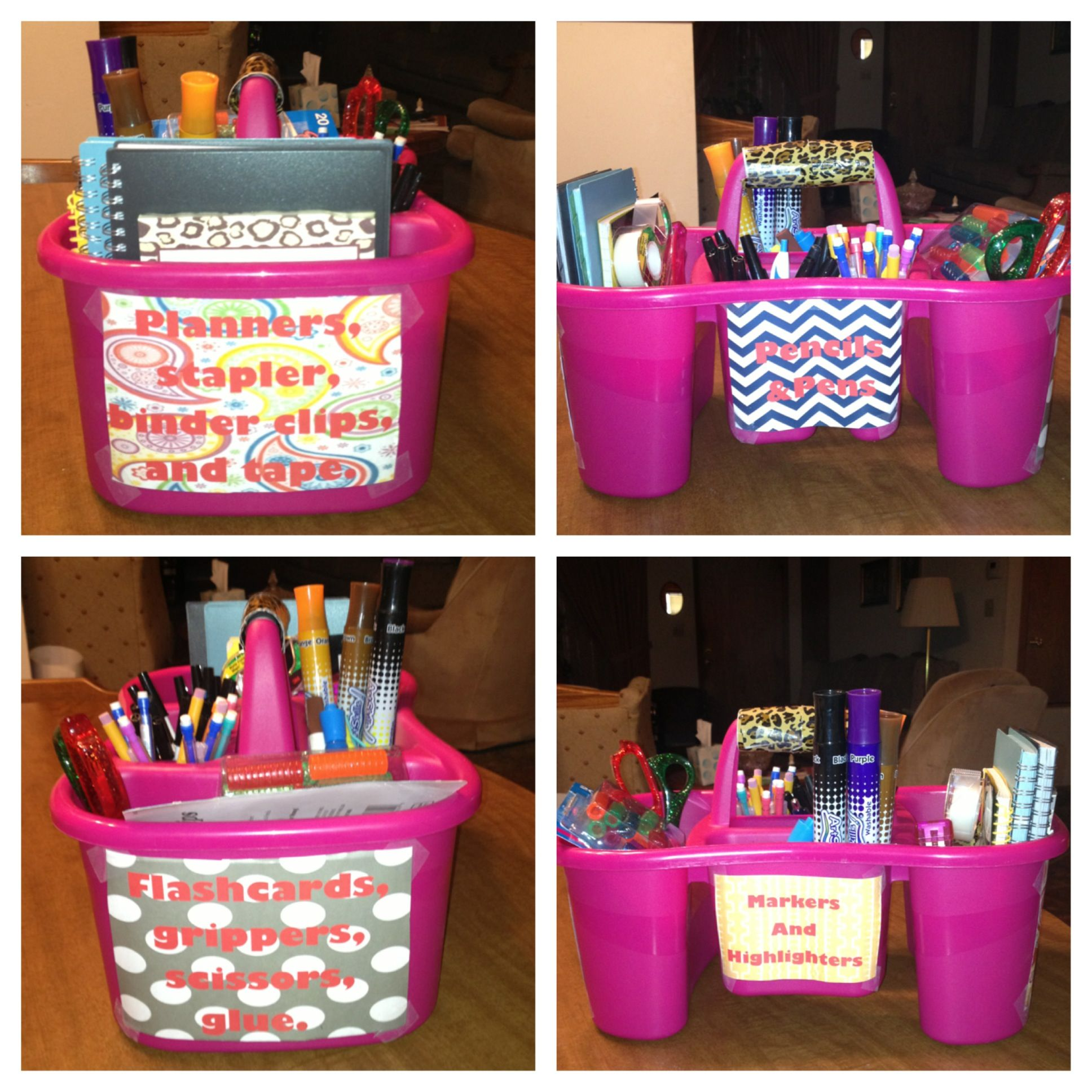 Use a shower caddy to make an organizer for the home or classroom ...
