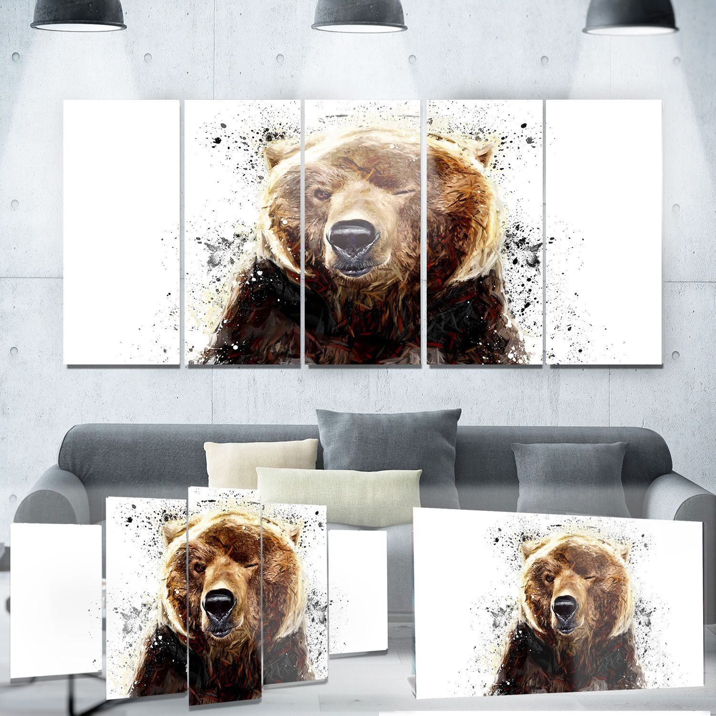 Designart 'Brown Bear' Animal Metal Wall Art (28W x 12H 1 Panel)