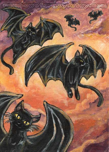 Black Cat Art Print Decor 5x7 Wall Flying Cats Picture Animal Ilration Bat Wings Orange Sky Gothic Image