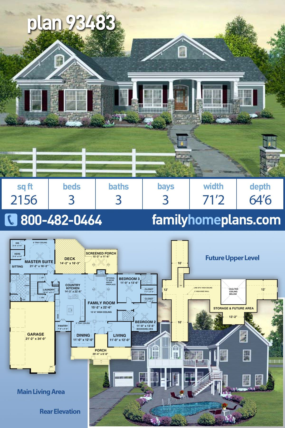 Traditional Style House Plan 93483 With 3 Bed 3 Bath 3 Car Garage Dream House Plans Country House Plans Southern Country Homes