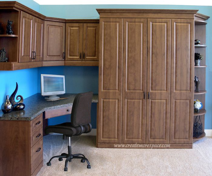 Raised Panel Queen Murphy Bed With A Corner Desk Design Beds