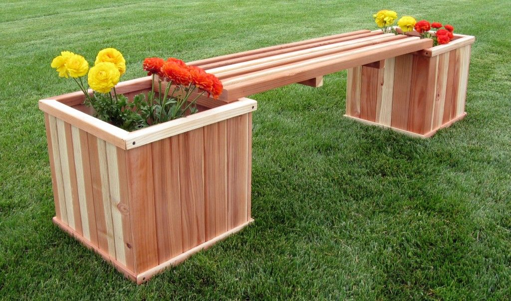 Images Of Redwood Benches With Planter Bo Humboldt 18 Square Box