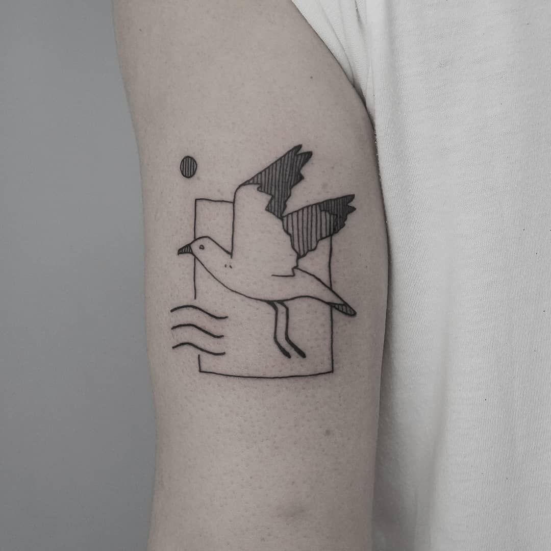 "Tattoo Artist Berlin on Instagram: ""A seagull based on his grandfather's sailor tattoo, for Kay Done at @unikat_berlin"""