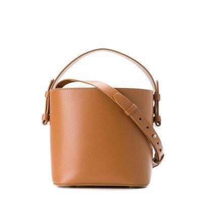 Vintage Leather Women Shoulder Bag Bucket Bags Lady Handbag Trendy Drawstring Tote Crossbody Bag Color Wine red Vintage leather women shoulder bag bucket bags lady handba...