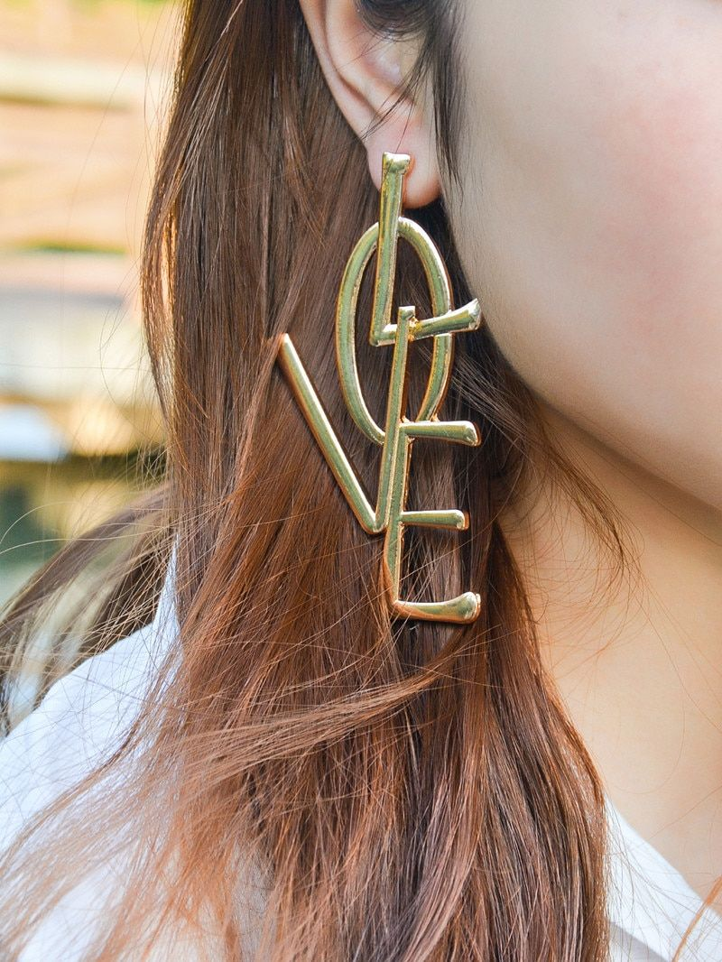 Kmvexo earrings exaggerated ethic boho large big long leatter love earrings vintage statement jewelry