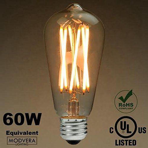 Modvera 60w Equivalent Led Antique Edison Bulb St64 X Sty Filament Bulb Edison Light Bulbs Vintage Led Bulbs