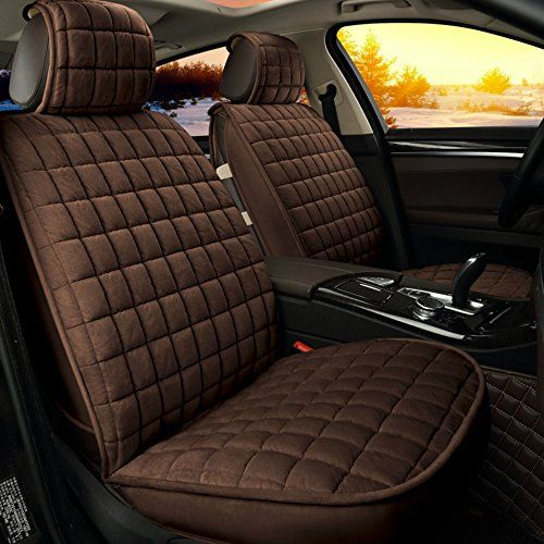 ANKIV Brown FULL SET Universal Fit 5 Seats Car Solid Color Grid Soft