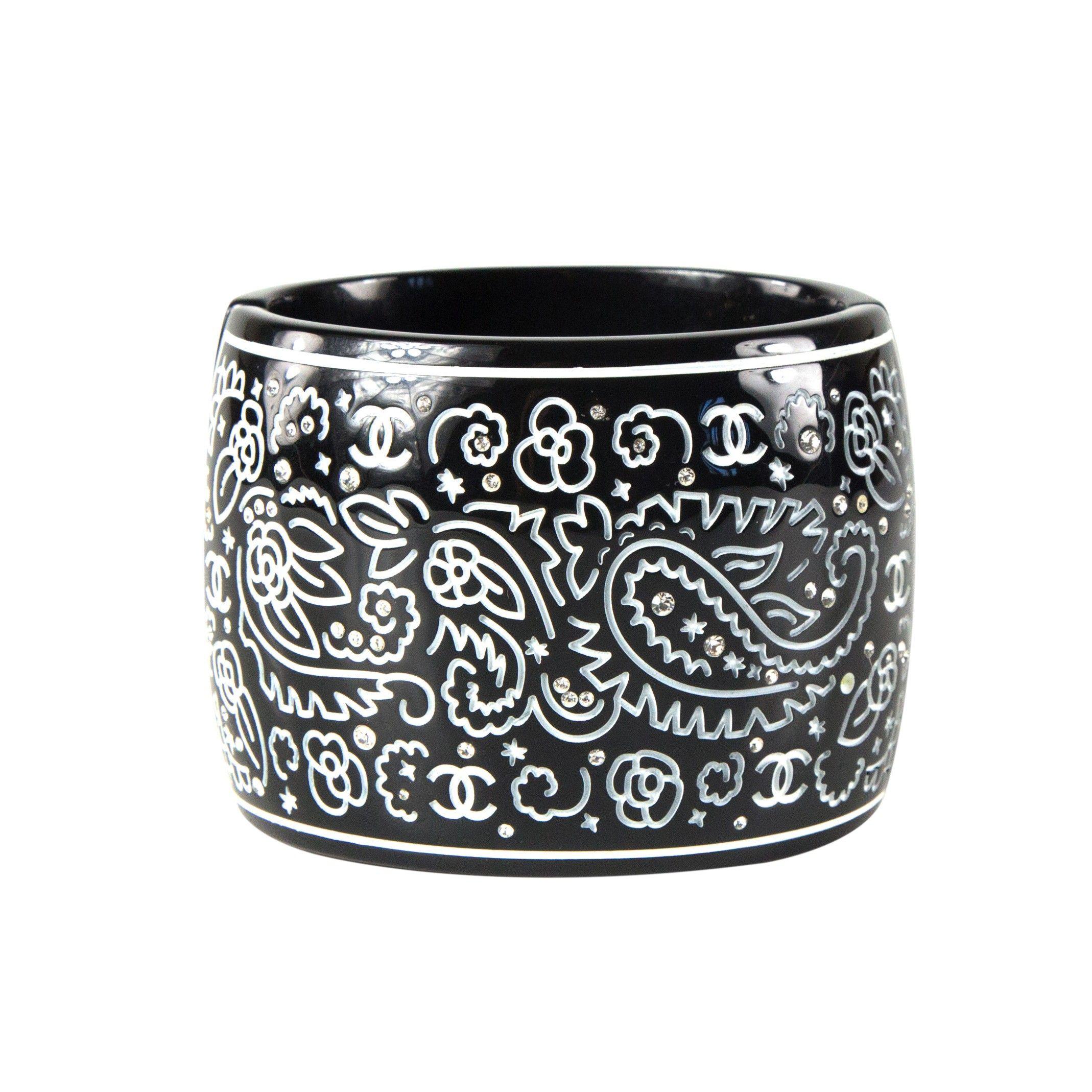 Chanel Crystal Cuff CC Paisley Wide Bracelet - Black & White ...