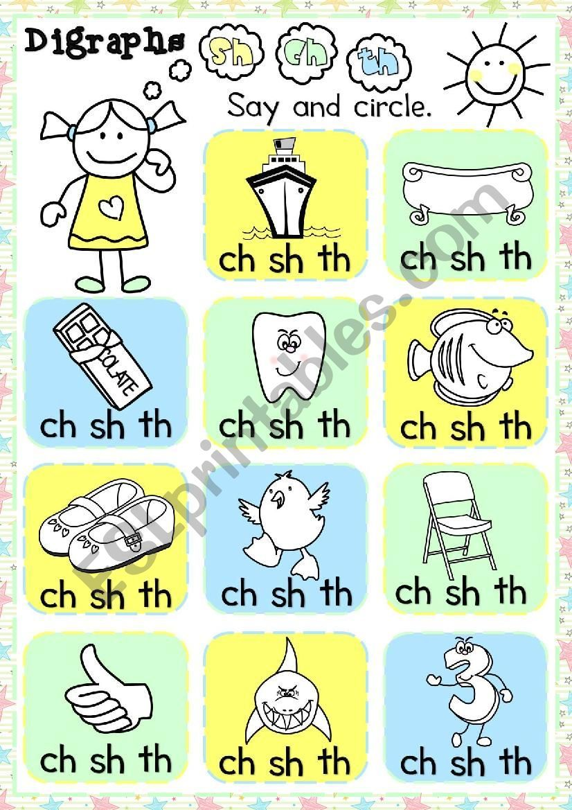 A Multiple Choice Exercise To Practise The Sh Ch And Th Digraphs With Young Learners They Have To Say Th Digraphs Worksheets Kindergarten Worksheets Digraph [ 1169 x 826 Pixel ]