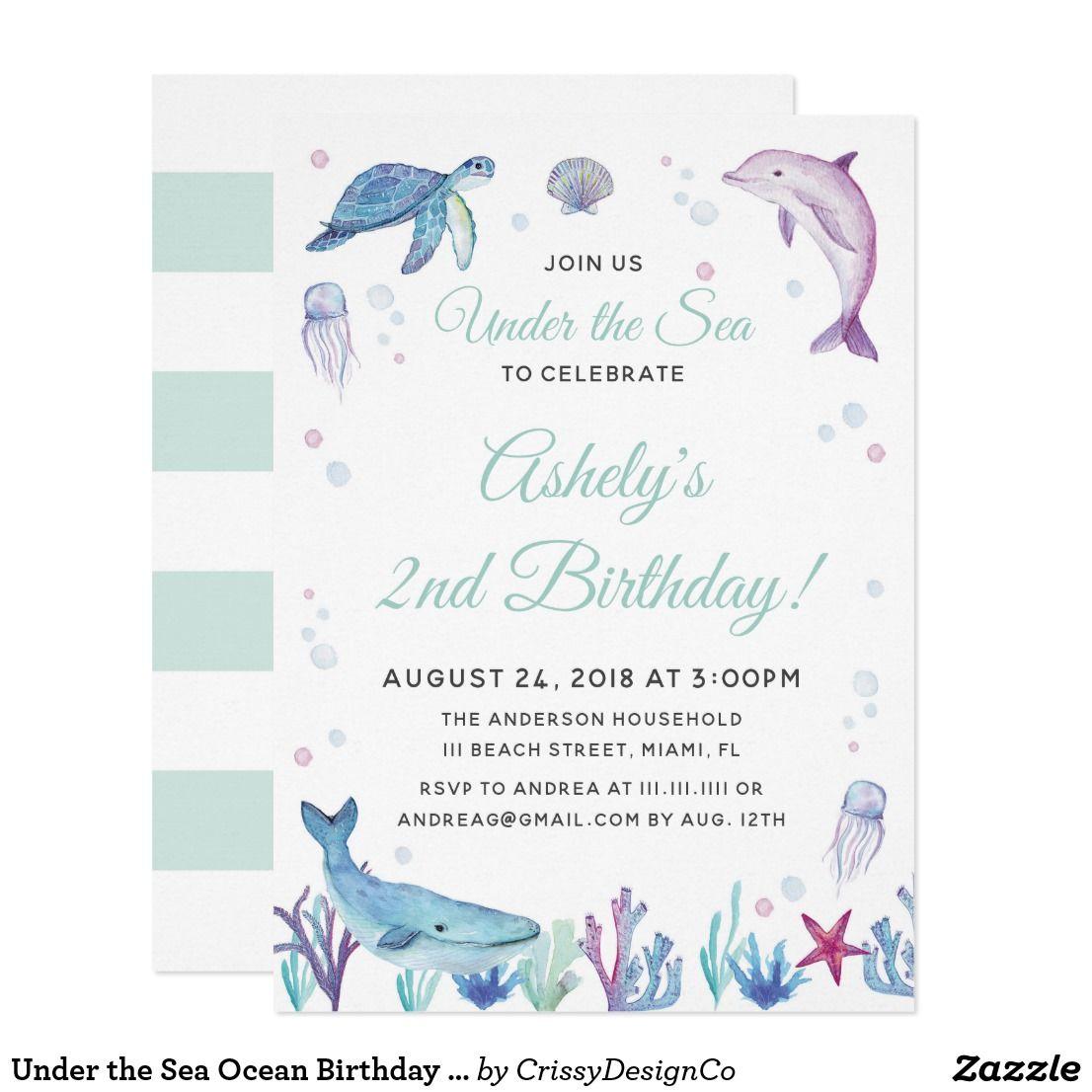 Under the Sea Ocean Birthday Party Invitation | CrissyDesignCo ...