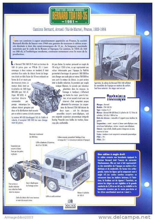 C2/ FICHE CARTONNE 25x18.5 CM CAMION DOC.AU DOS VOIR SCAN SERIE TRACTEUR CABINE FRANCE ARCUEIL 1961 BERNARD TDA 160.35 - Vrachtwagens