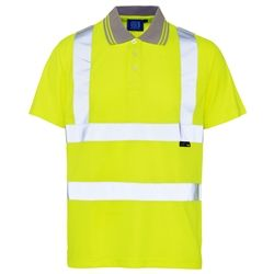 fe1094fd496 Hi Vis Yellow Polo Shirt Perfect for Spring and Summer alike Round neckline  100% polyester