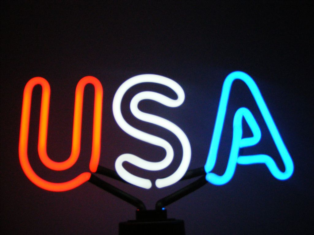 USA in Neon Neon words, Neon, Cool neon signs