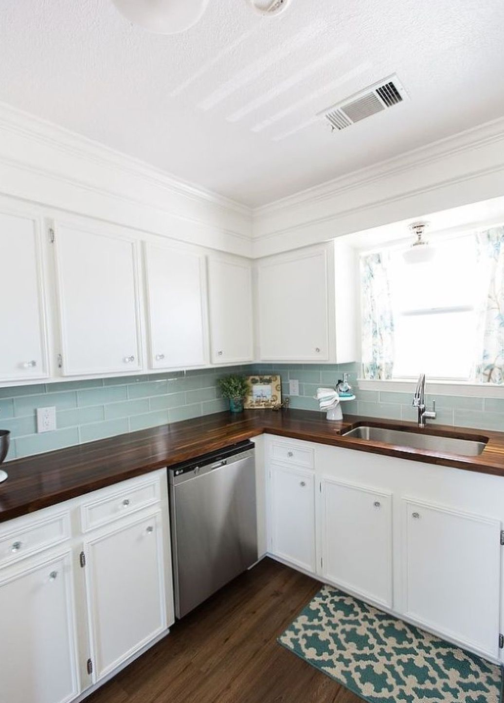 Butcher Block Counter And Subway Tile Backsplash (love The Color)