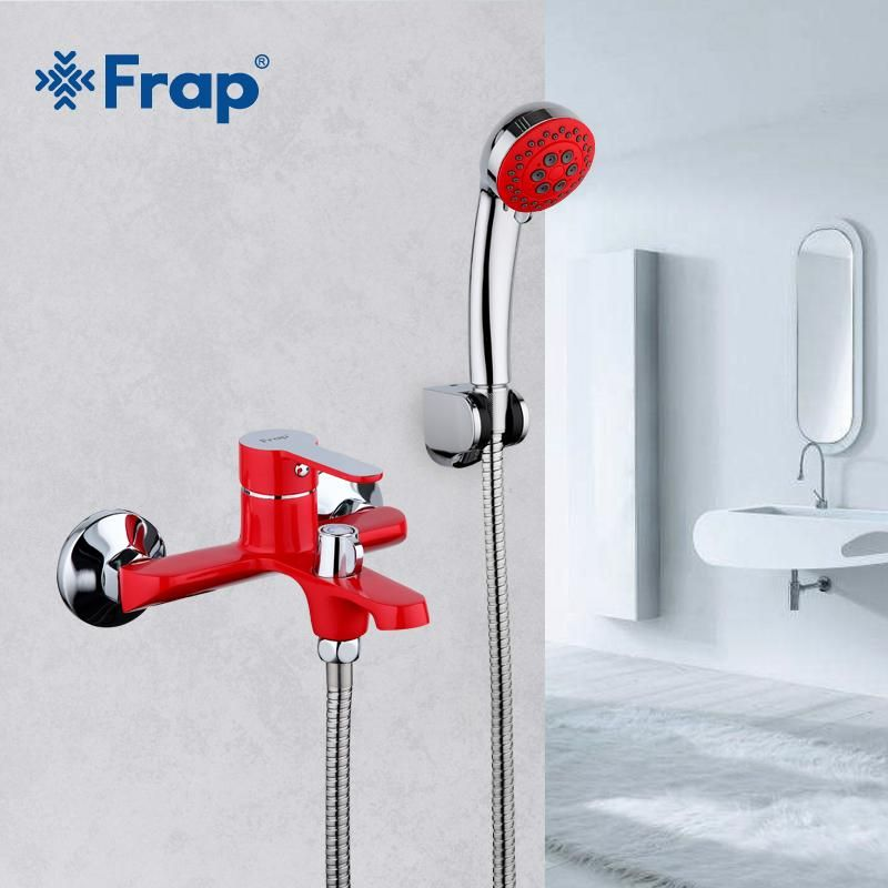 Frap Red Bathroom Shower Brass Chrome Wall Mounted Hot And Cold
