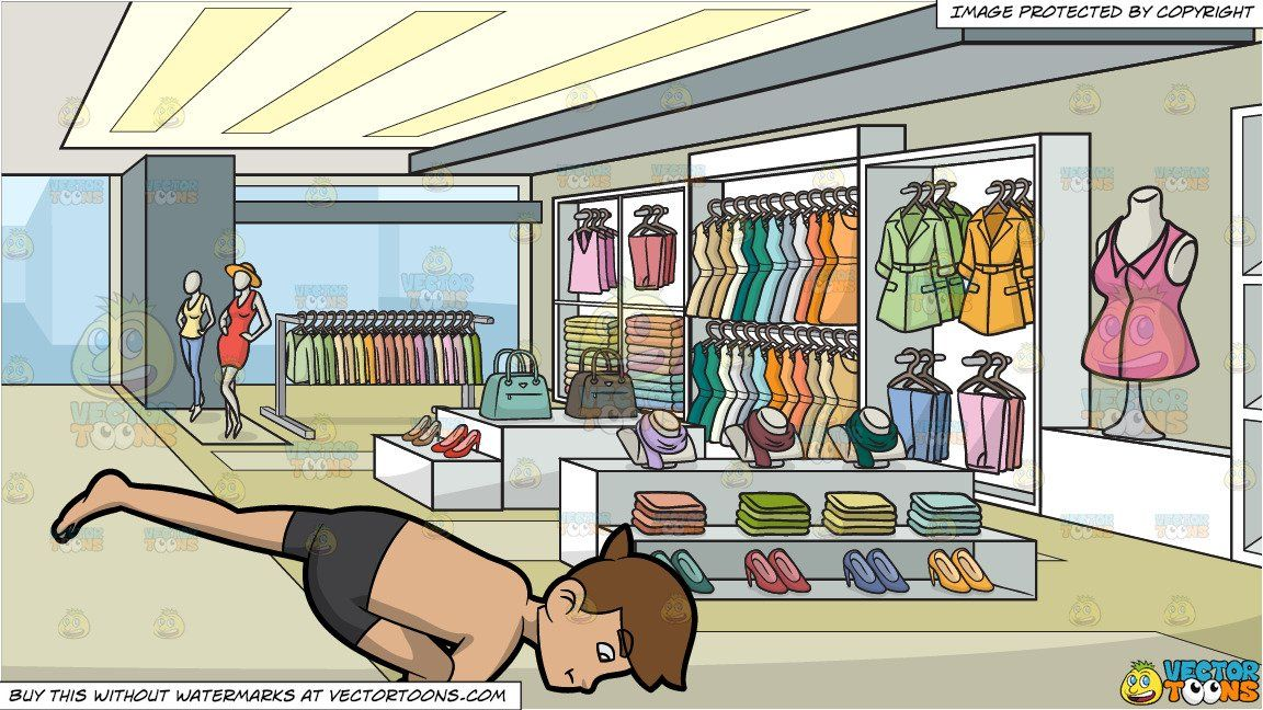 a man doing the flying pigeon yoga pose and a clothing store for